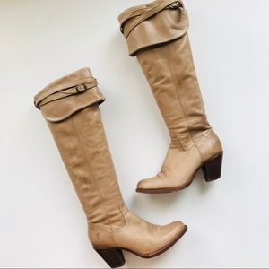 Frye leather over the knee heeled boots